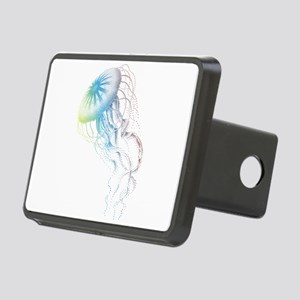 colorful jellyfish silhouette Hitch Cover